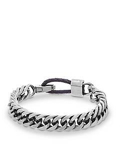 Steve Madden Silver-Tone Curb Chain Bracelet