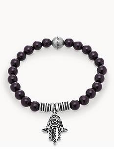 Steve Madden Silver-Tone Black Beaded Hamsa Bracelet