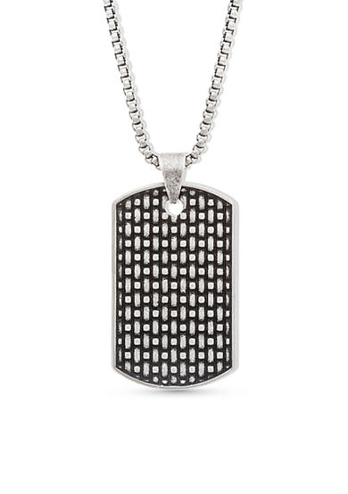 Steve Madden Silver-Tone Textured Weave Dog Tag Necklace