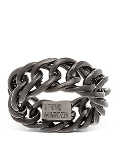 Steve Madden Hematite-Tone Curb Chain Band Ring