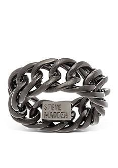 Steve Madden Hematite-Tone Curb Chain Band Ring