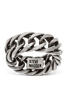 Steve Madden Silver-Tone Curb Chain Band Ring