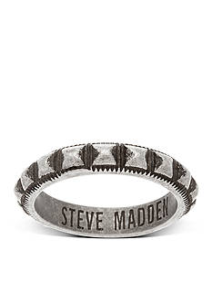 Steve Madden Silver-Tone Textured Stud Ring