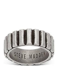 Steve Madden Silver-Tone Ribbed Band Ring