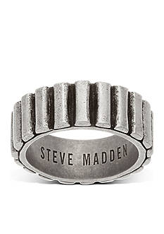 Steve Madden Silver-Tone Ribbed Band Ring