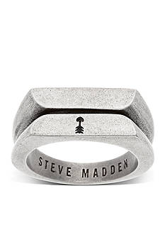 Steve Madden Silver-Tone Textured Flat Arrow Ring