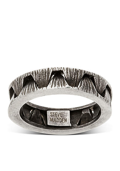 Steve Madden Silver-Tone Crown Optic Band Ring