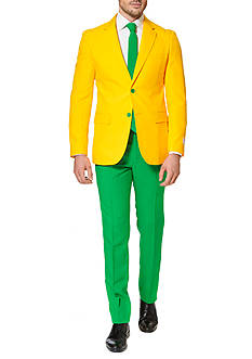 OppoSuits Green and Gold Solid Suit