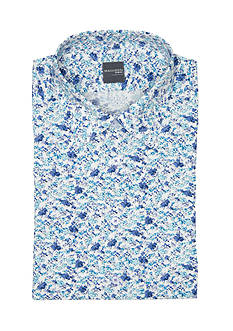 Madison Slim-Fit Blue Floral Printed Stretch Poplin Dress Shirt