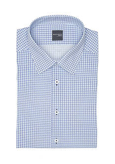 Madison Slim-Fit Blue and Navy Geo Printed Dress Shirt