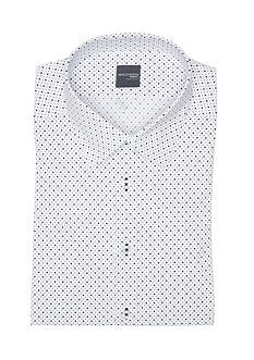 Madison Slim-Fit Dot Black Printed Stretch Poplin Dress Shirt