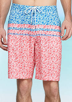 Red Camel Ditsy Block 4-Way Stretch Board Shorts