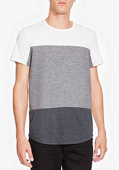 Kenneth Cole Short Sleeve Fabric Block Crew