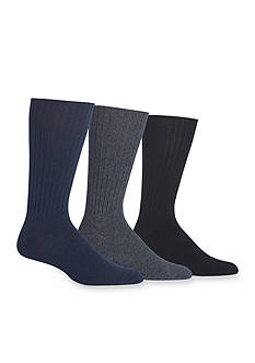 Chaps Casual Ribbed Crew Socks - 3 Pack