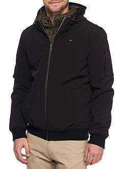 Tommy Hilfiger Soft Shell Bomber Jacket With Contrast Bib and Hood