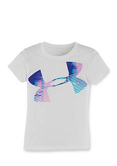 Under Armour® Short Sleeve Paint Plaid Jumbo Logo Top Toddler Girls