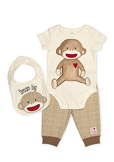 Rashti & Rashti® 3-Piece Sock Monkey Bodysuit, Pant, and Bib Set