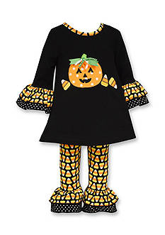 Bonnie Jean 2-Piece Pumpkin and Candy Corn Legging Dress Set