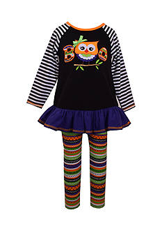 Bonnie Jean 2-Piece Owl Top and Striped Leggings Set