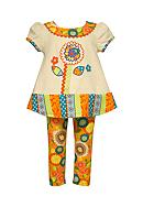 Bonnie Jean 2-Piece Flower Mixed Media Tunic and