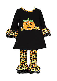 Bonnie Jean Candy Corn Pumpkin Halloween Top and Leggings 2-Piece Set Toddler Girls