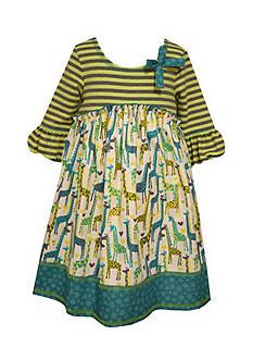 Bonnie Jean Giraffe Mixed Media Dress Toddler Girls
