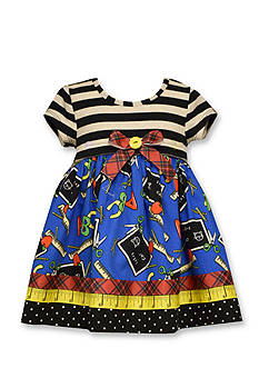 Bonnie Jean Back To School Mixed Media Dress Toddler Girls