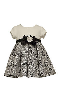 Bonnie Jean Solid to Floral Knit Jacuqard Dress Toddler Girls