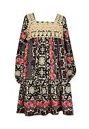 Bonnie Jean Crochet Boho Print Dress Toddler Girls
