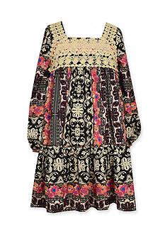 Bonnie Jean Crochet Boho Print Dress Toddler Girls