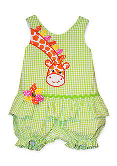 Bonnie Jean® Giraffe Seersucker Romper Toddler Girls