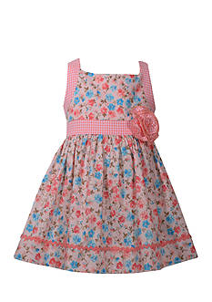 Bonnie Jean Floral Print Poplin Dress Toddler Girls