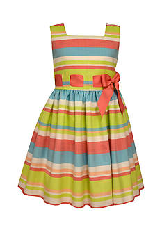 Bonnie Jean Striped Linen Pull-Through Dress Toddler Girls