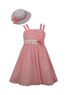 Bonnie Jean Polka Dot Rose Dress and Hat Set Toddler Girls