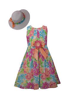 Bonnie Jean Floral Dress and Hat Set Girls 7-16 Plus