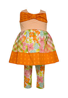 Bonnie Jean Mixed Print Tunic and Capri Legging Set Toddler Girls