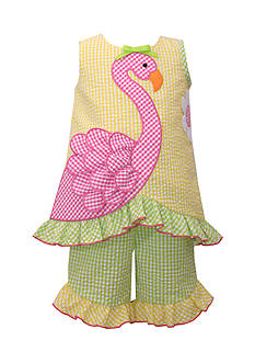 Bonnie Jean Flamingo Seersucker 2-Piece Capri Set Toddler Girls
