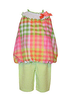 Bonnie Jean Plaid Seersucker 2-Piece Capri Set Toddler Girls
