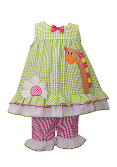 Bonnie Jean Giraffe Seersucker 2-Piece Capri Set Toddler Girls
