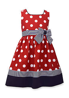 Bonnie Jean Sleeveless Ribbon With Bow Dot Dress Toddler Girls