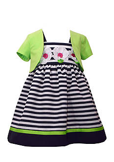 Bonnie Jean Sleeveless Stripe Dress With Cardigan Toddler Girls