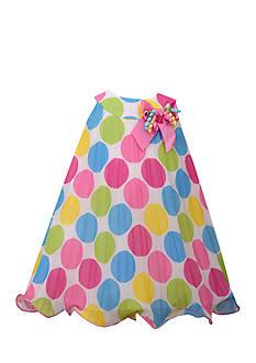 Bonnie Jean Pleated Mesh Polka Dot Dress