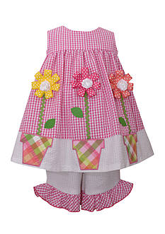 Bonnie Jean 2-Piece Checkered Flowerpot Dress and Leggings Set