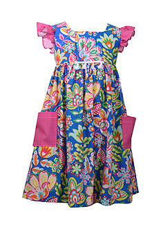 Bonnie Jean Floral Print Empire Waist Dress Toddler Girls