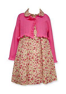 Bonnie Jean Cardigan and Floral Dress Set Toddler Girls