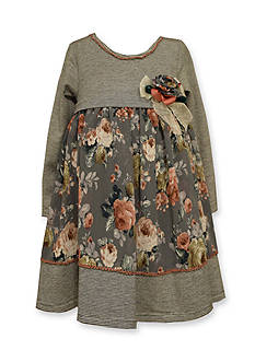 Bonnie Jean Chiffon Mixed Floral and Stripe Dress Toddler Girls