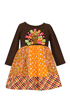 Bonnie Jean Mixed Media Turkey Dress Toddler Girls