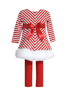 Bonnie Jean Striped Santa Dress And Legging Set