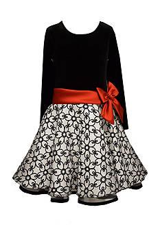 Bonnie Jean Velvet Glitter Skater Dress Toddler Girls