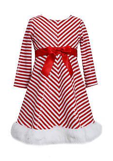 Bonnie Jean Chevron Sequin Santa Dress Toddler Girls